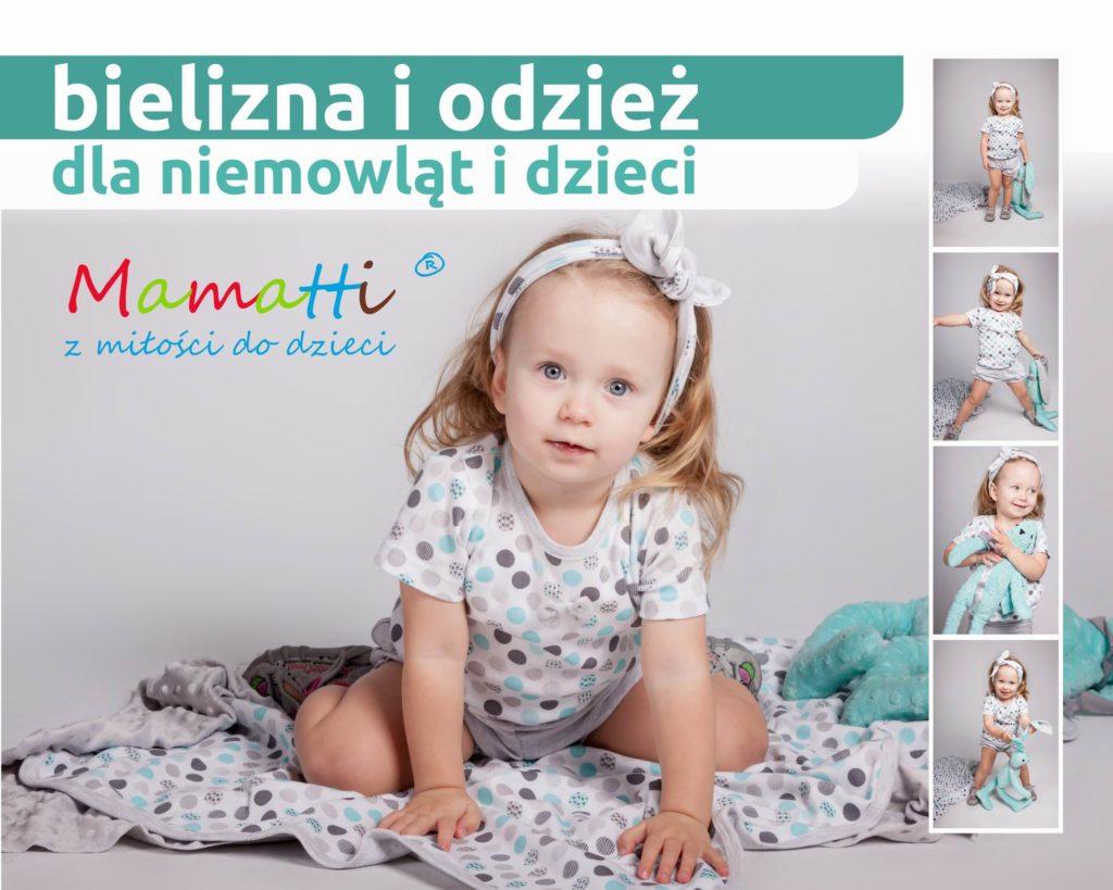 Polski producent odzieży dziecięcej i niemowlęcej z Wadowic. Mamatti sklep z modnymi ubrankami dla dziewczynki i chłopca od 0 do 36 miesiąca.