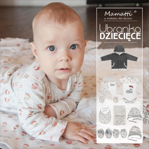 Najnowsza kolekcja polskiego producenta odzieży dziecięcej i niemowlęcej z Wadowic. Modne body, kaftaniki, bluzy, czapeczki, pajacyki, śpioszki, kocyki, itd. Sklep Mamatti.