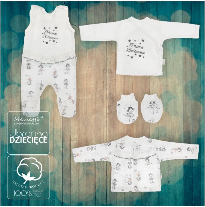 Śpioszki kaftaniki, rękawiczki nie drapki dla noworodk. Bawełniana wyprawka z Mamatti