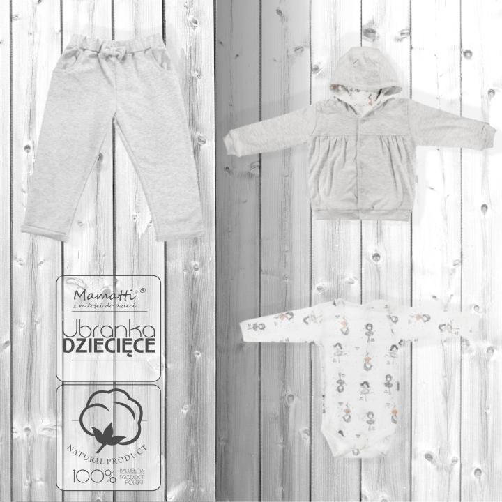 Modny komplet dla niemowlaka body, bluza i spodnie dresowe. Polski producent ekologicznej bawełnianej odzieży dziecięcej Mamatti.