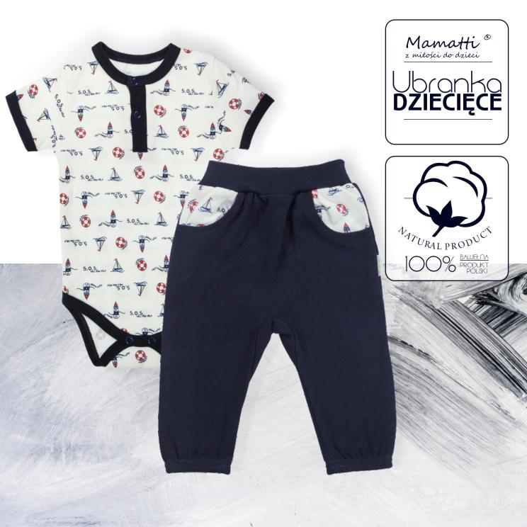 Wygodne ubrania dla niemowlaka i dziecka w wakacyjną podróż. Bawełniane ekologiczne zestawy body i dresiki od polskiego producenta odzieży niemowlęcej i dziecięcej Mamatti.