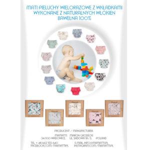 Polskie ekologiczne pieluchy wielorazowe szyte w Wadowicach. Modne wzory, ekologiczne i bezpieczne ubranka i pieluszki Mamatti